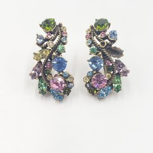 Vtg Hollycraft Rhinestone Screwback Earrings
